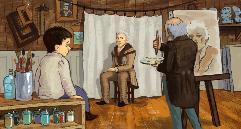 Young George sits and watches Chester Harding paint a portrait of Daniel Boone.  His love of art was now official.