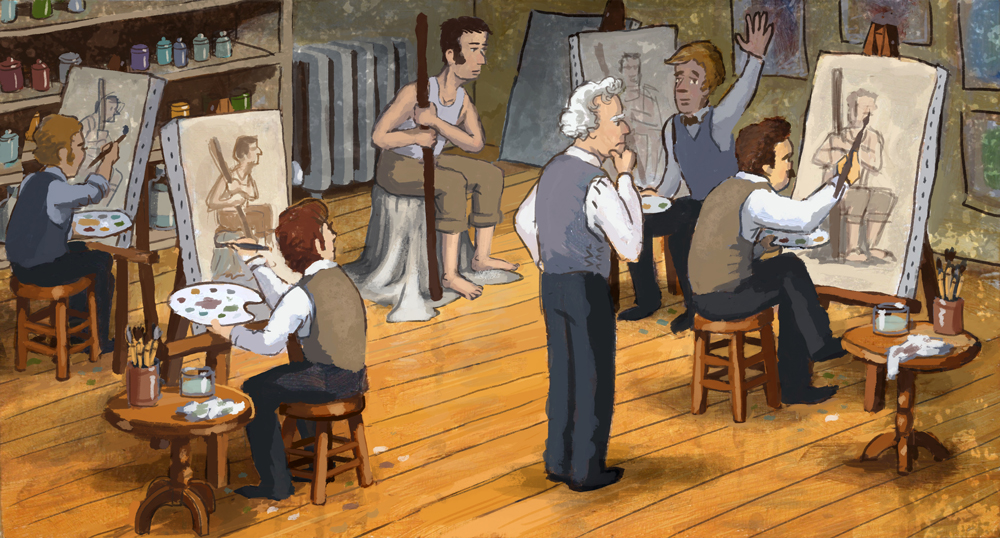 George as an elder teaching a painting class.