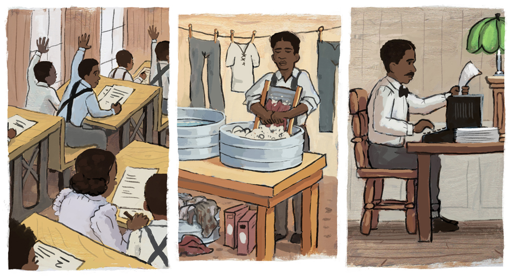 Collage of George Washington Carver growing up.