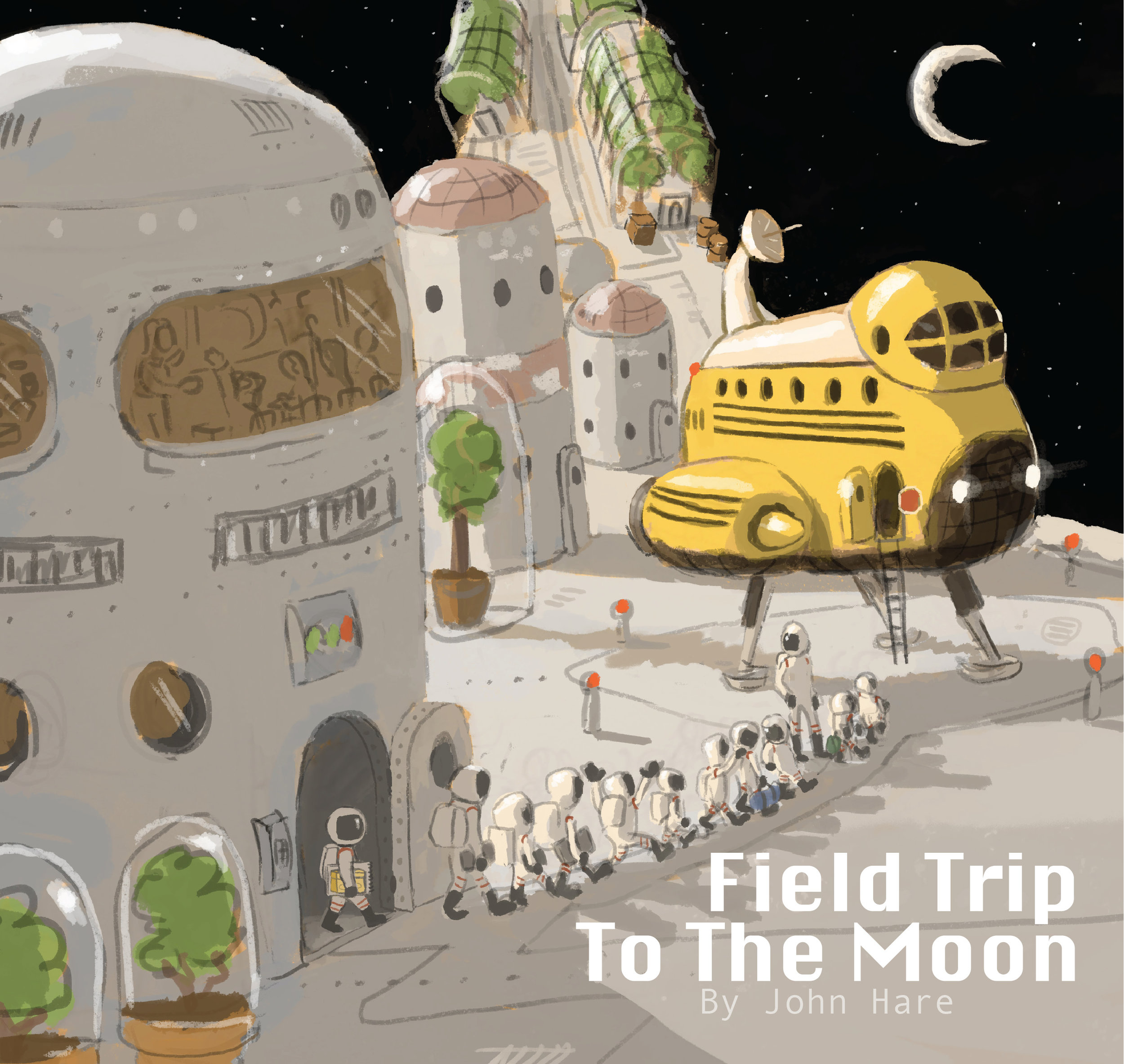 This sketch show an alternate cover design showing the kids departing a station that spins to make artificial gravity.