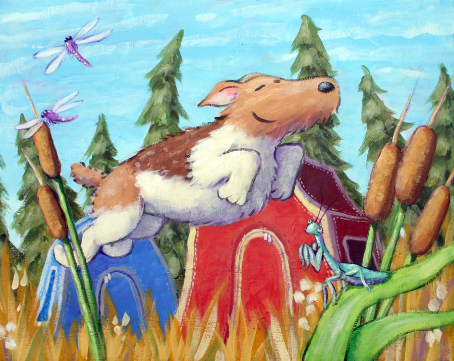 A painting from a board book made many years ago staring Marcus.  You'll be missed, buddy!