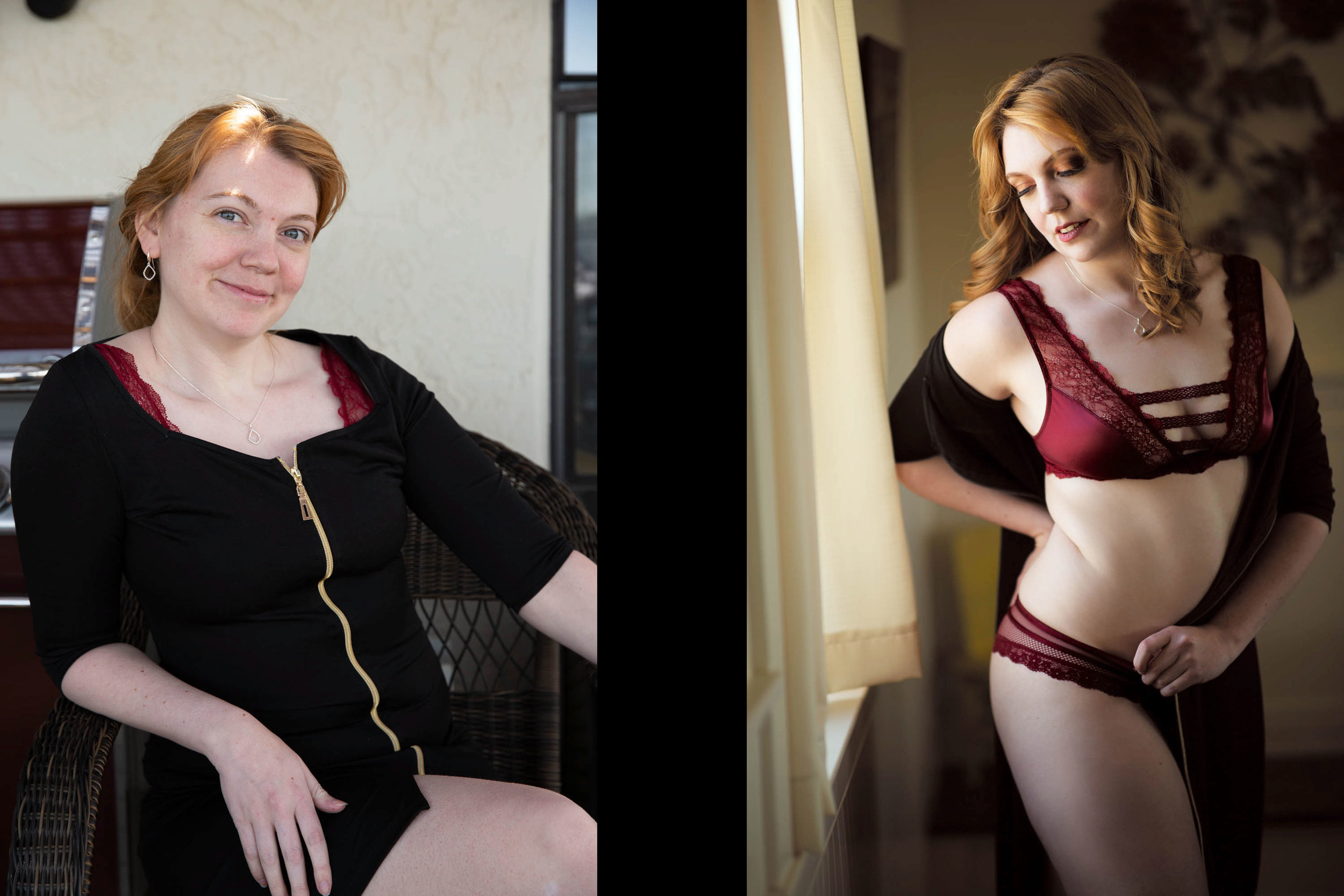 Before & after from Siobhan's boudoir photo shoot.
