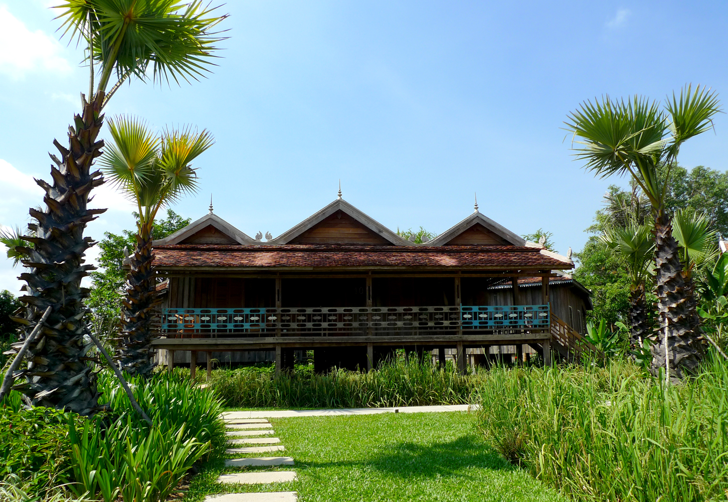 Khmer traditional house with long veranda