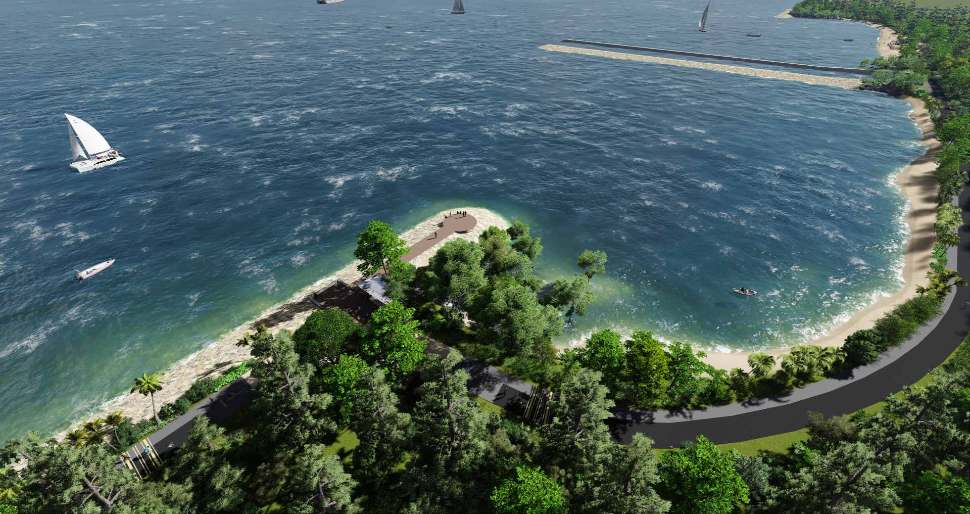 Round Island Route visualization of Changi Bay by Stephen Caffyn Landscape Design
