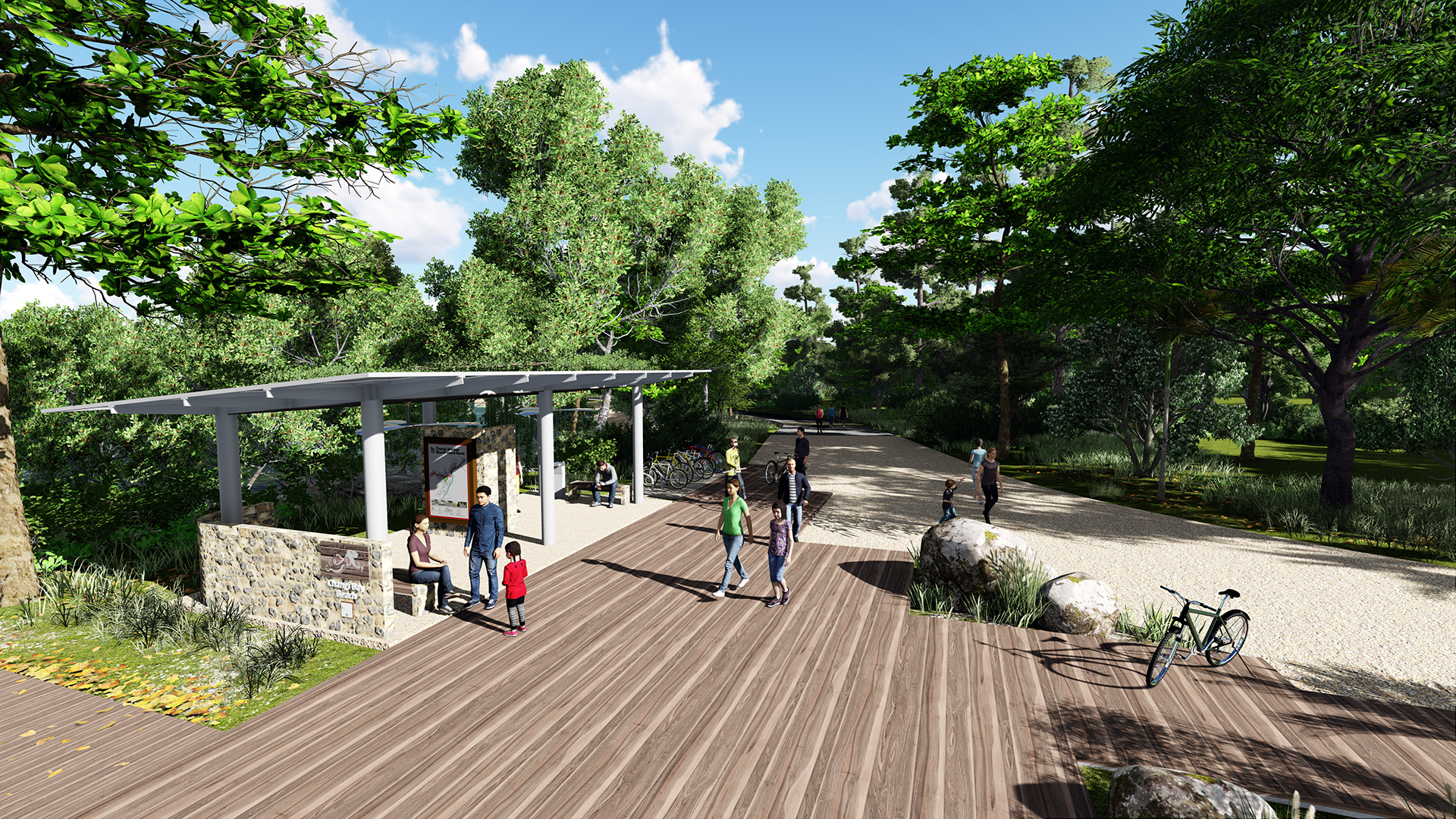 View of Round Island Route shelter at Changi Bay area by Stephen Caffyn Landscape Design