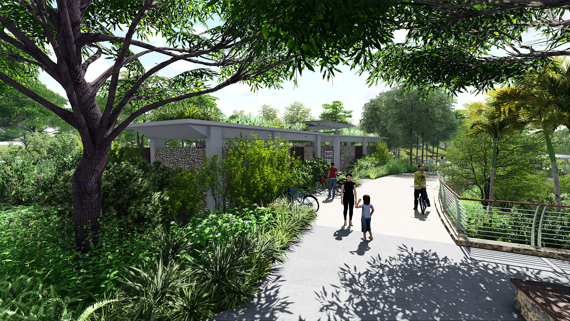 Lookout area and restrooms at Rower's Bay on the Round Island Route by Stephen Caffyn Landscape Design
