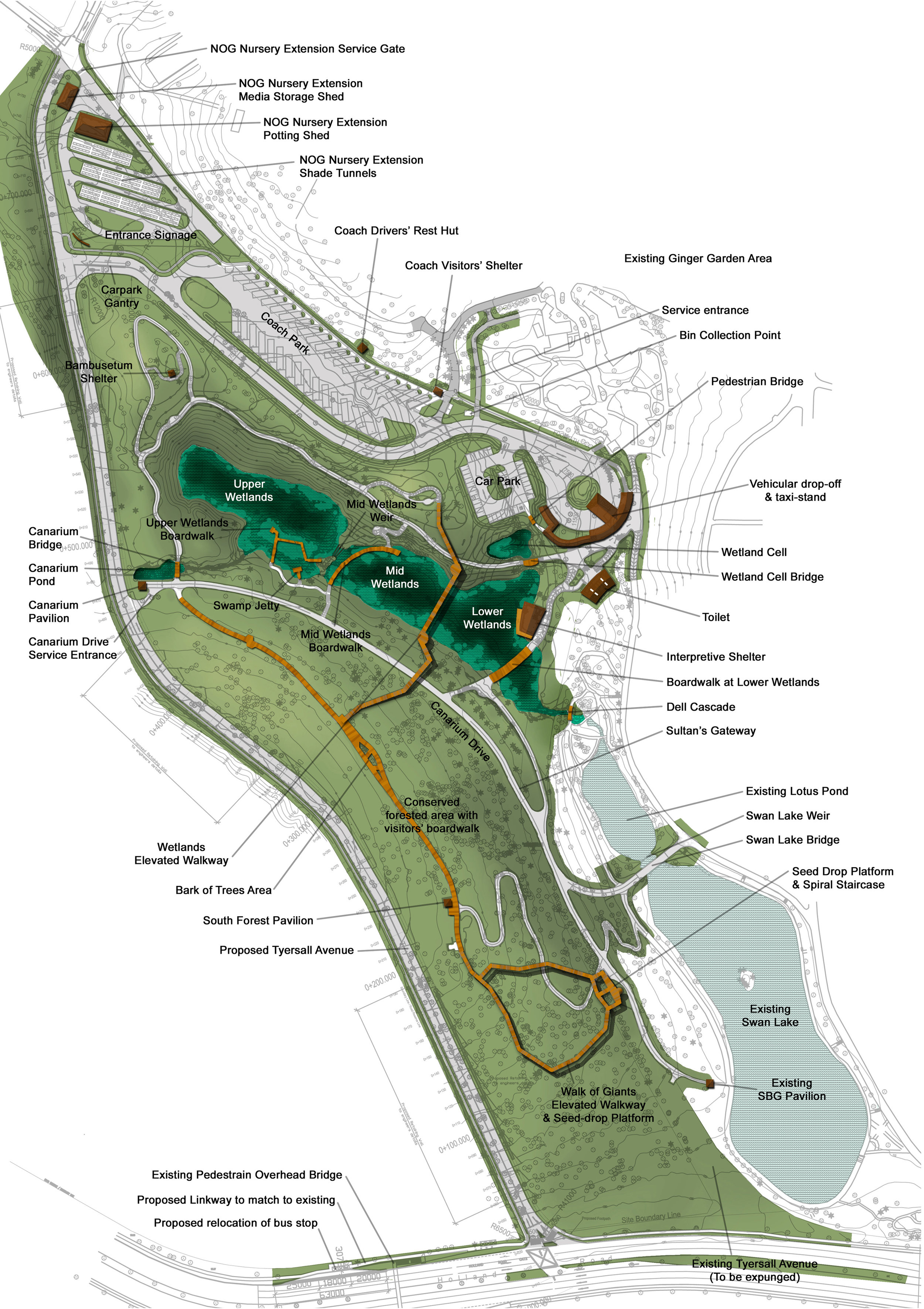 Masterplan of The Learning Forest Singapore Botanic Gardens - Stephen Caffyn Landscape Design