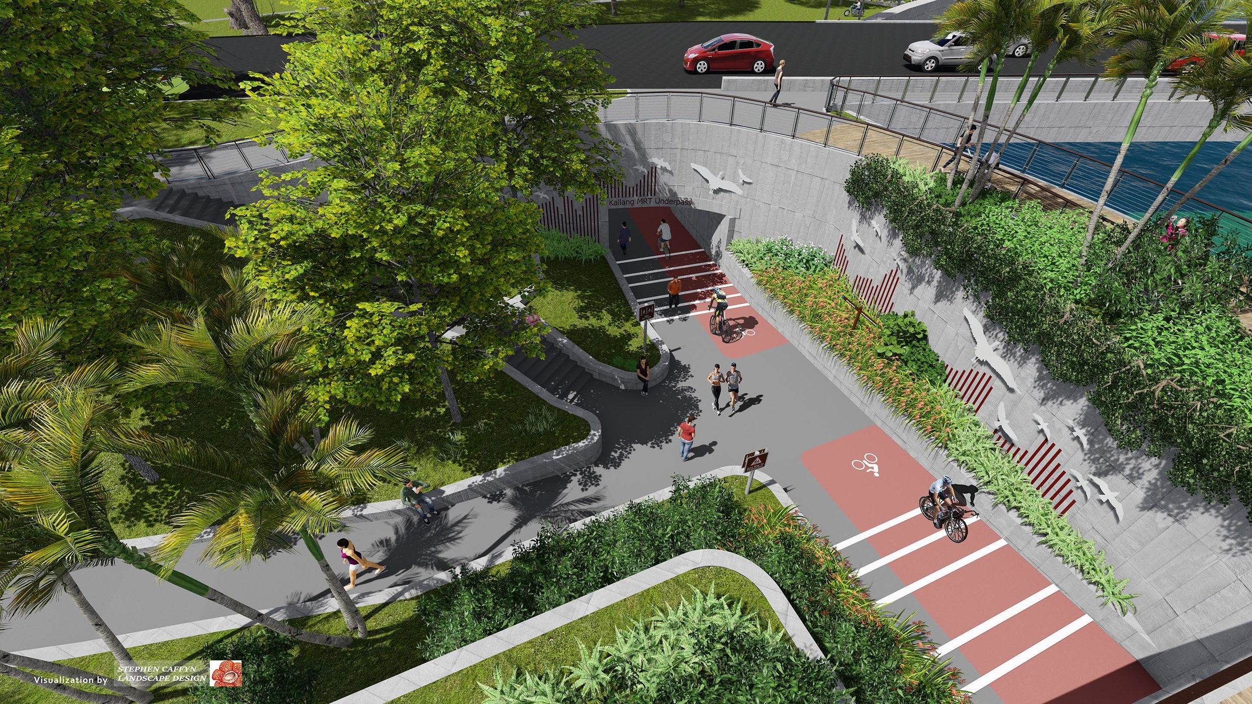 Visualization of our Bishan to City Feasibility Study - Underpass Treatment at Sims Avenue