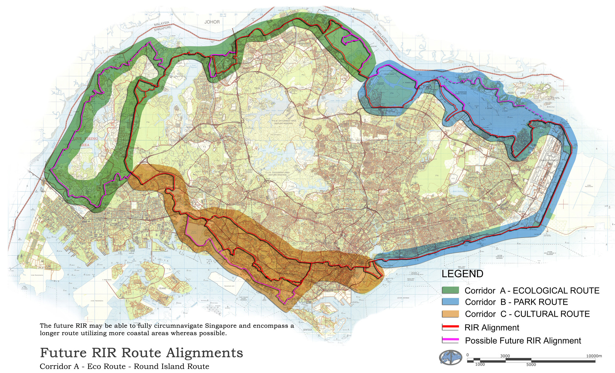 SCLD's Round Island Route Plan indicating the 3no Corridors of the RIR from the 2010 Masterplanning project.