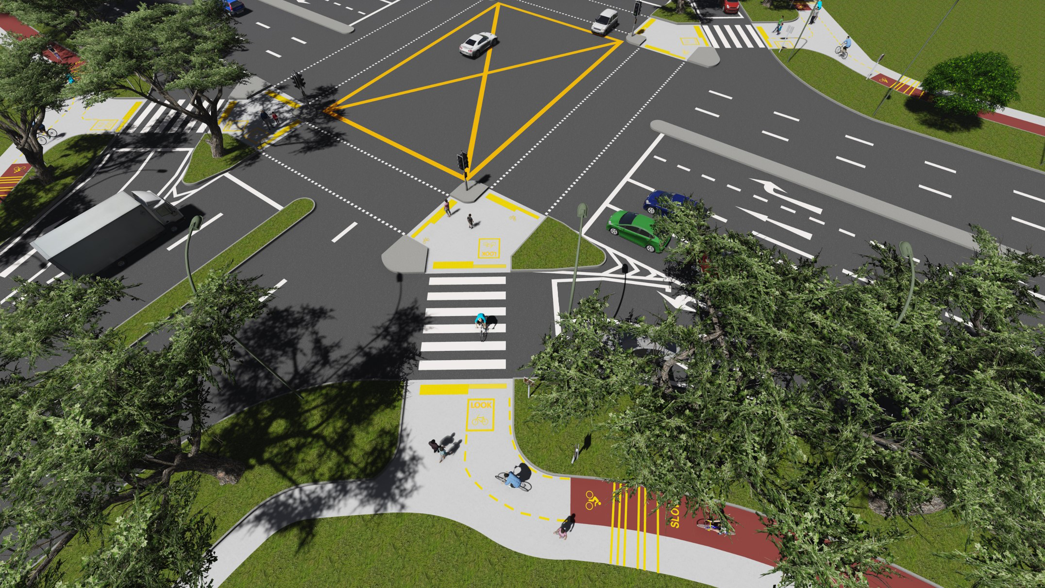SCLD's Visualization of a Typical Crossing Treatment for the LTA Cycling Network