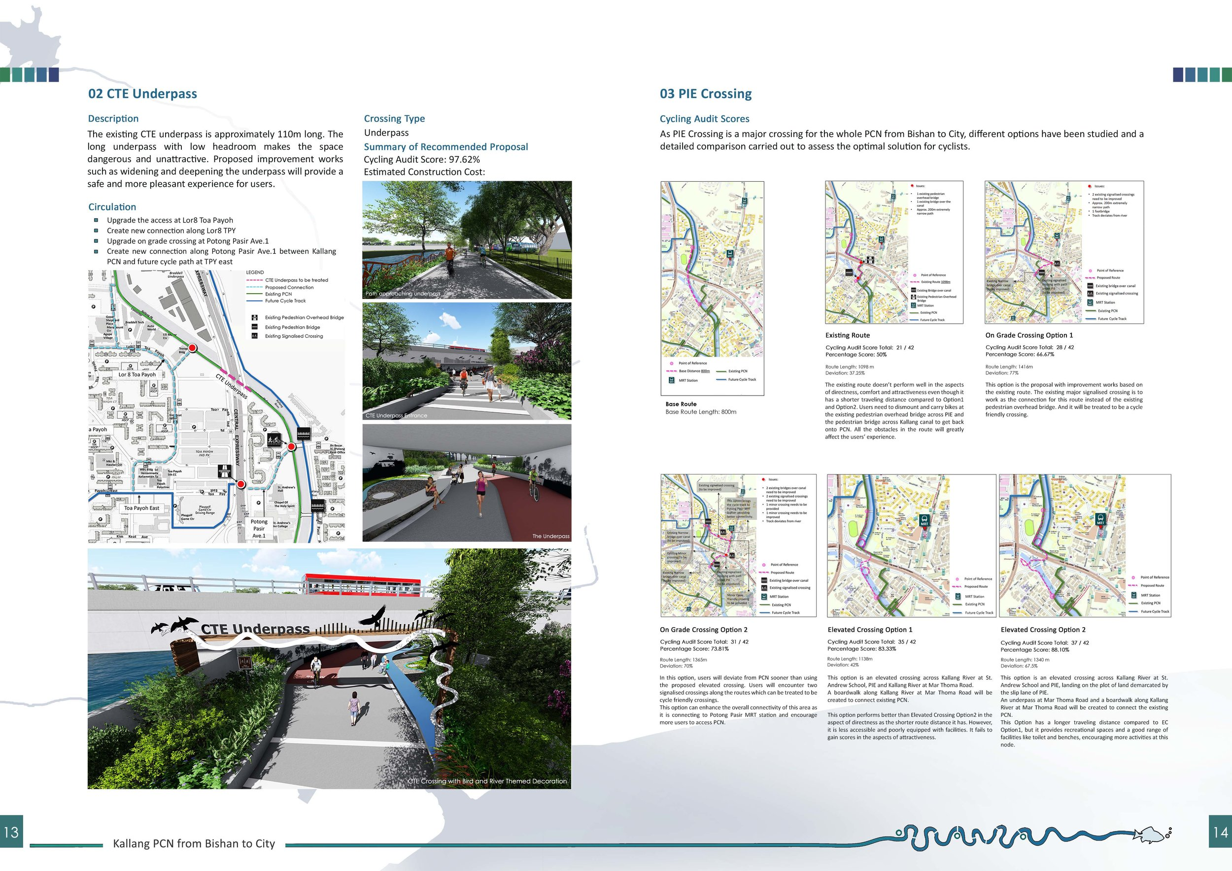 Feasibility Report page indicating Cycling Audit for Crossing/ Route Options