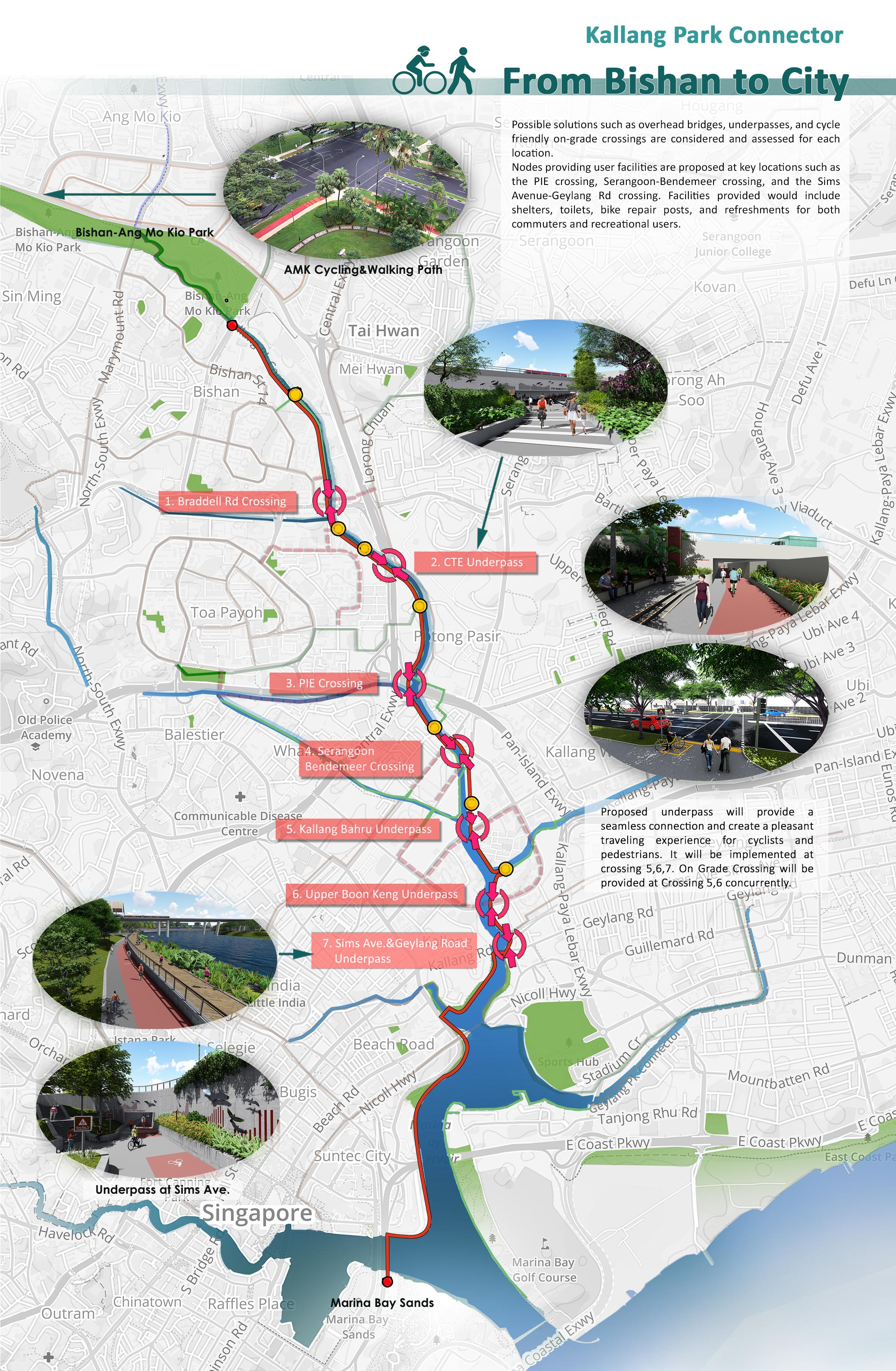 Bishan to City - Overall Plan of Crossings and Route