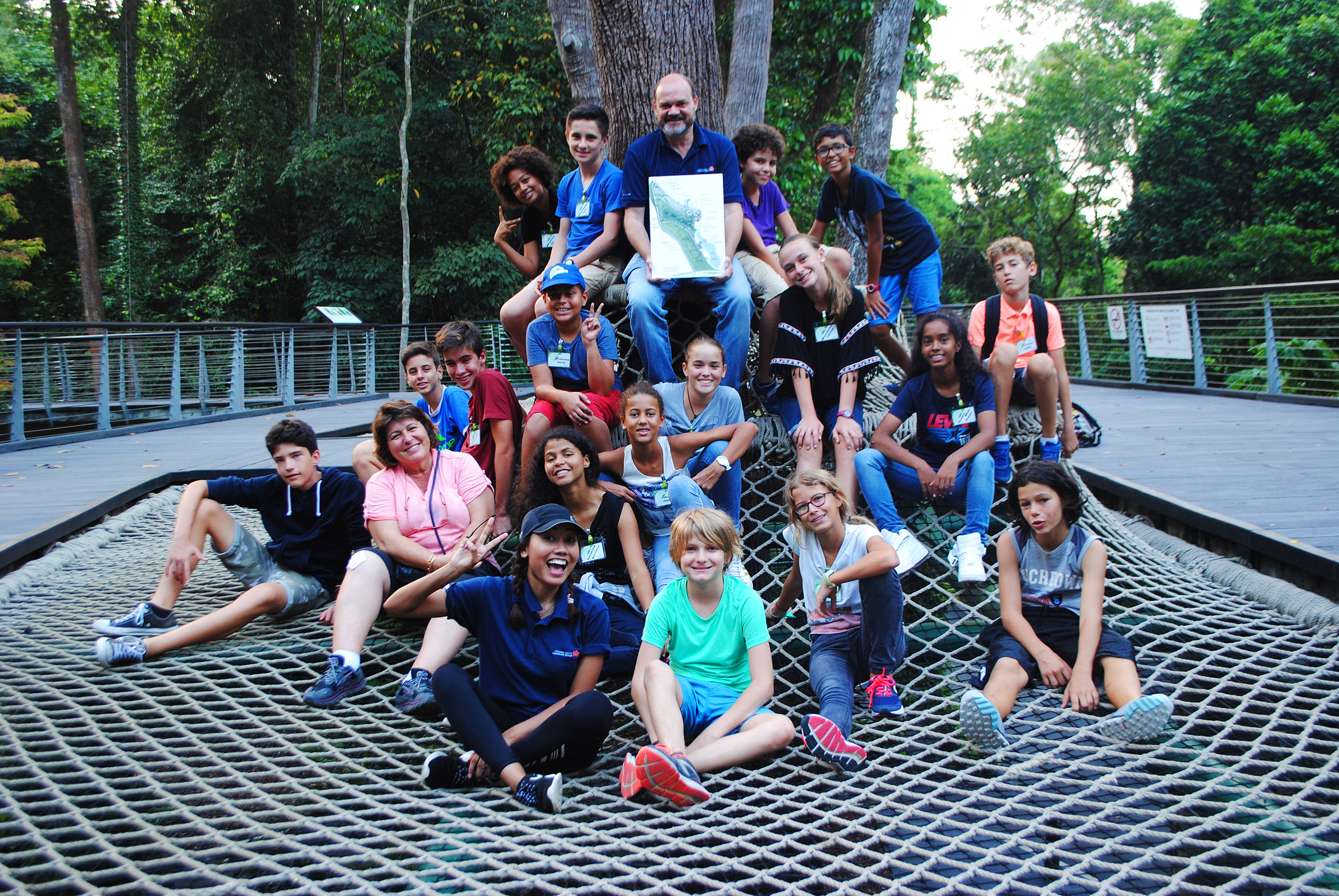 Group photo on the Canopy Web at the SPH Walk of Giants - Photo by Nicolas