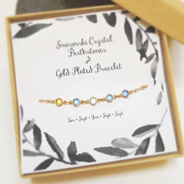 NEW / Swarovski Crystal Birthstone Bracelet $14+  shopsimplychic.etsy.com  #personalizedgifts #etsyshop #etsy #birthday #gift #birthstone #madetoorder #jewelry