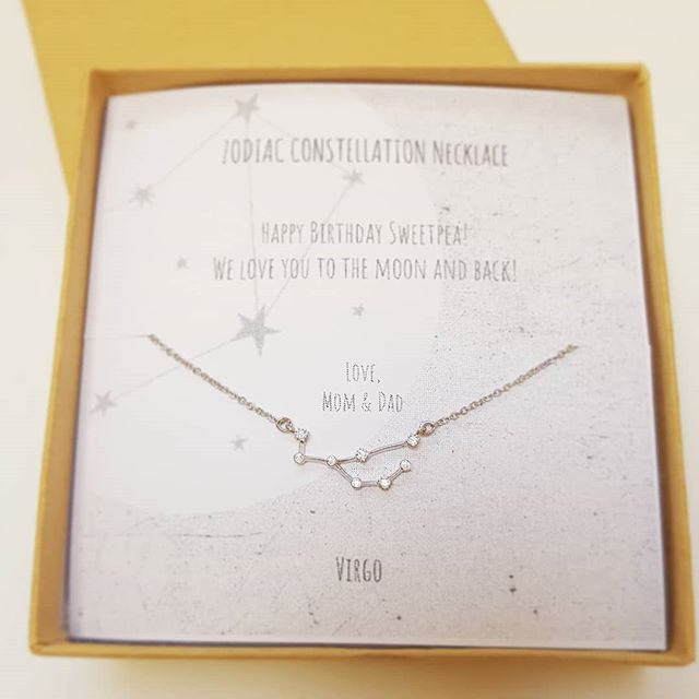Dainty Zodiac Constellation Necklace $18 Virgo ♍ 8/23-9/22 Gift message is available on your request. --  shopsimplychic.etsy.com  #birthday #personalizedgifts #zodiac #etsy #etsyshop