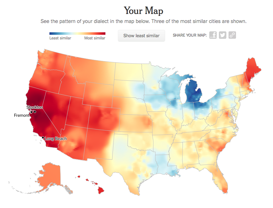 My map: born and raised in Berkeley, CA, college in Minnesota and Southern California, current resident of Seattle, WA. One of my biggest work clients is located in Michigan—how many milliseconds does it take them to realize I'm an out-of-towner?