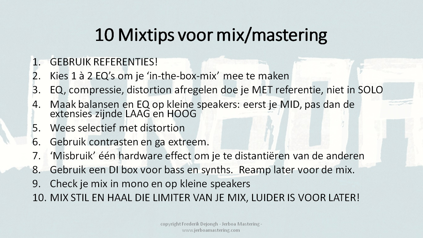 Jerboa Mastering - 10 tips