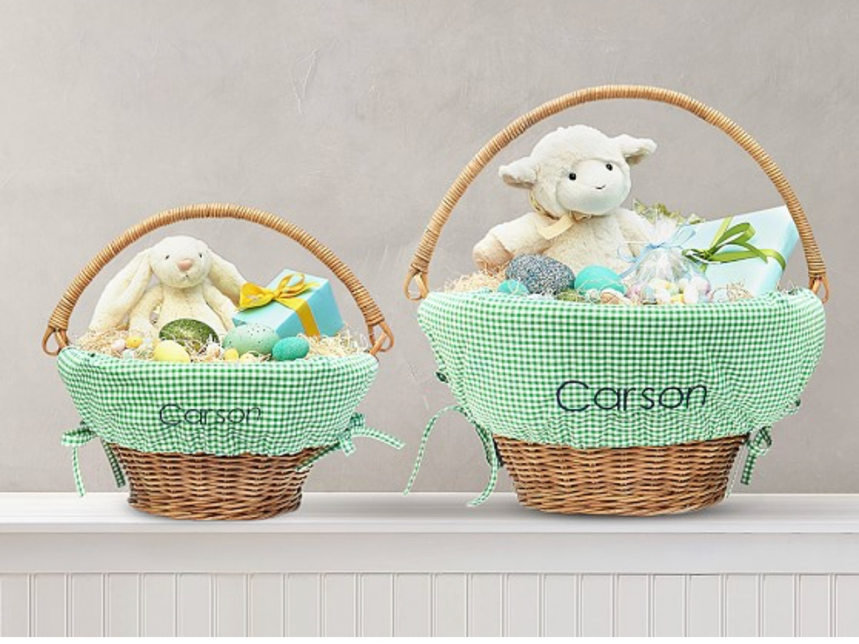 - Classic and adorable. You can't go wrong with Pottery Barn Kid's Easter baskets and liners.Find them here.