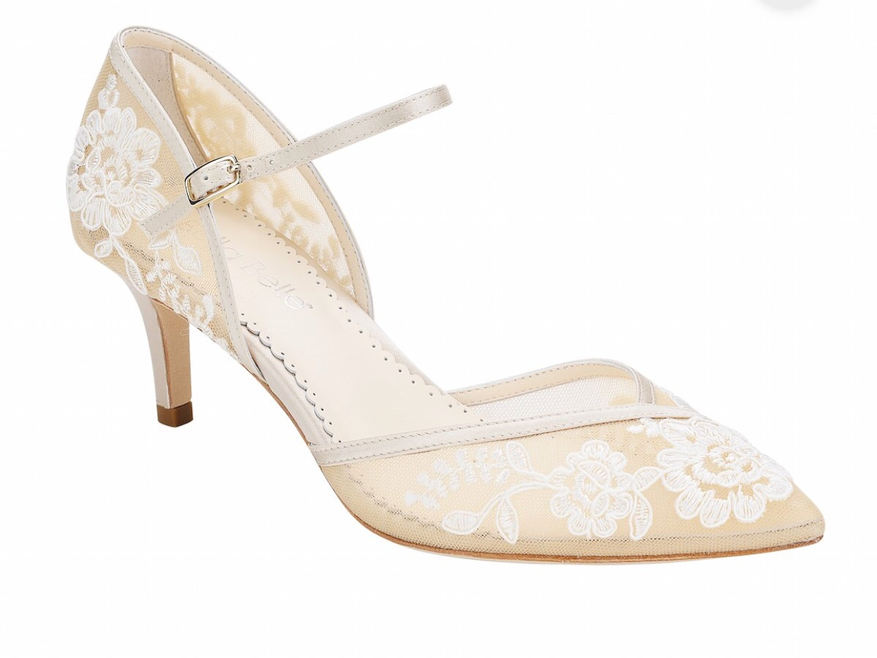 - Ok, it's hard to choose one shoe to feature from Bella Belle shoes. They are all completely stunning. These nude lace kitten heels speak to me. Brides, add this site to your shopping list!Find them here.