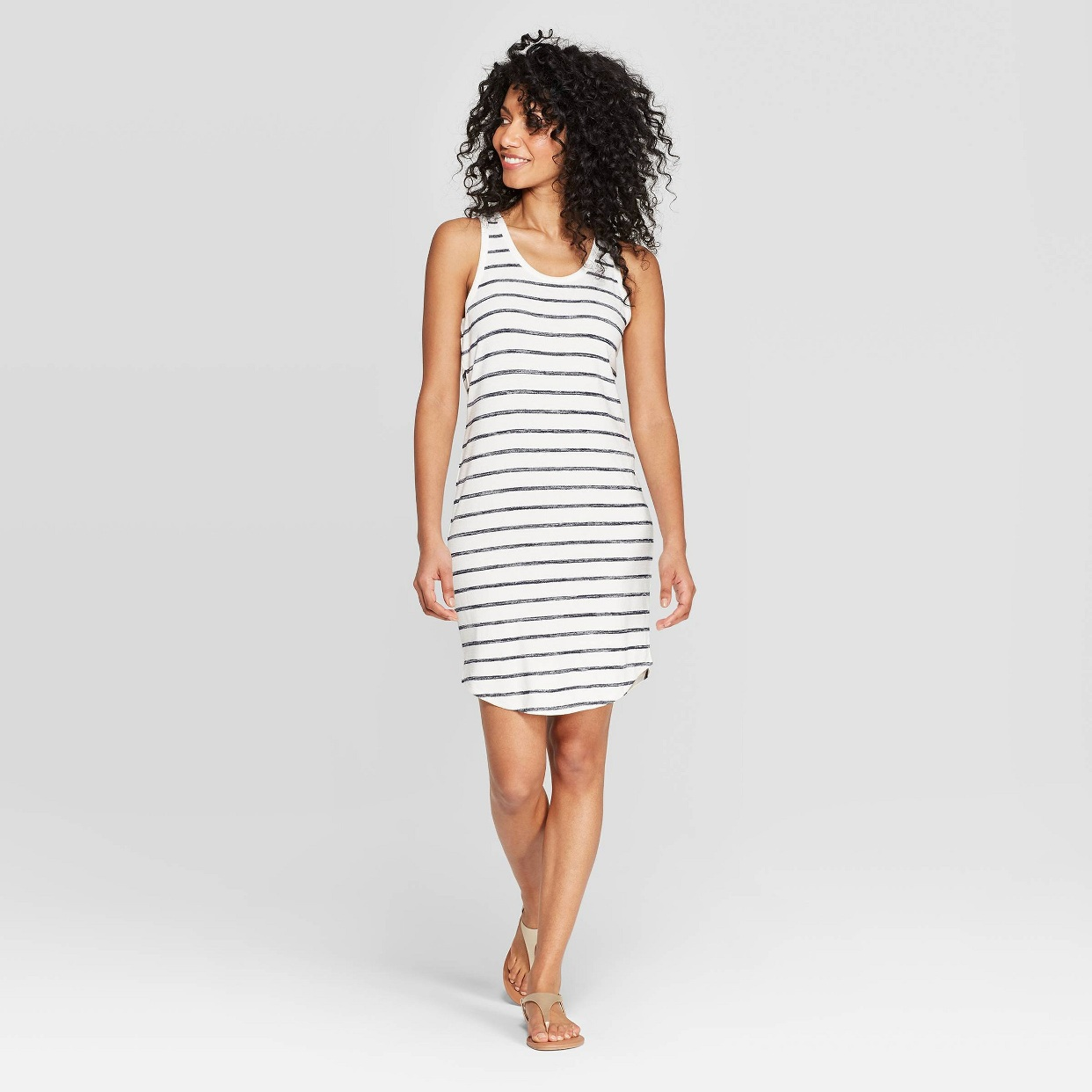 - My favorite o part about this dress is the material. It's a knit fabric that is a little thicker and so soft. Love me a stripe dress!Find it here.