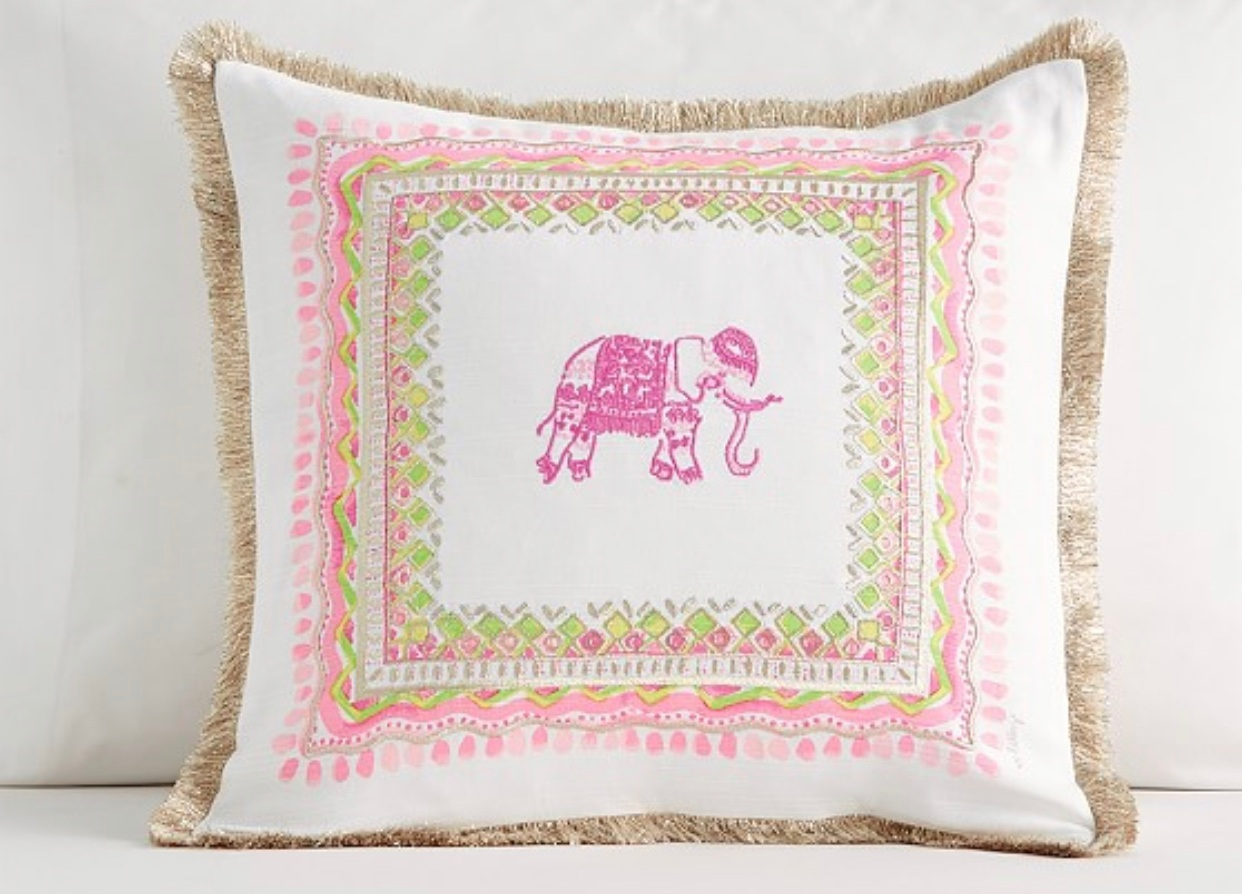 - I have posted about Lilly at PB before but y'all! Most of it is 30% off right now!! Including this adorable throw pillow.Find it here.