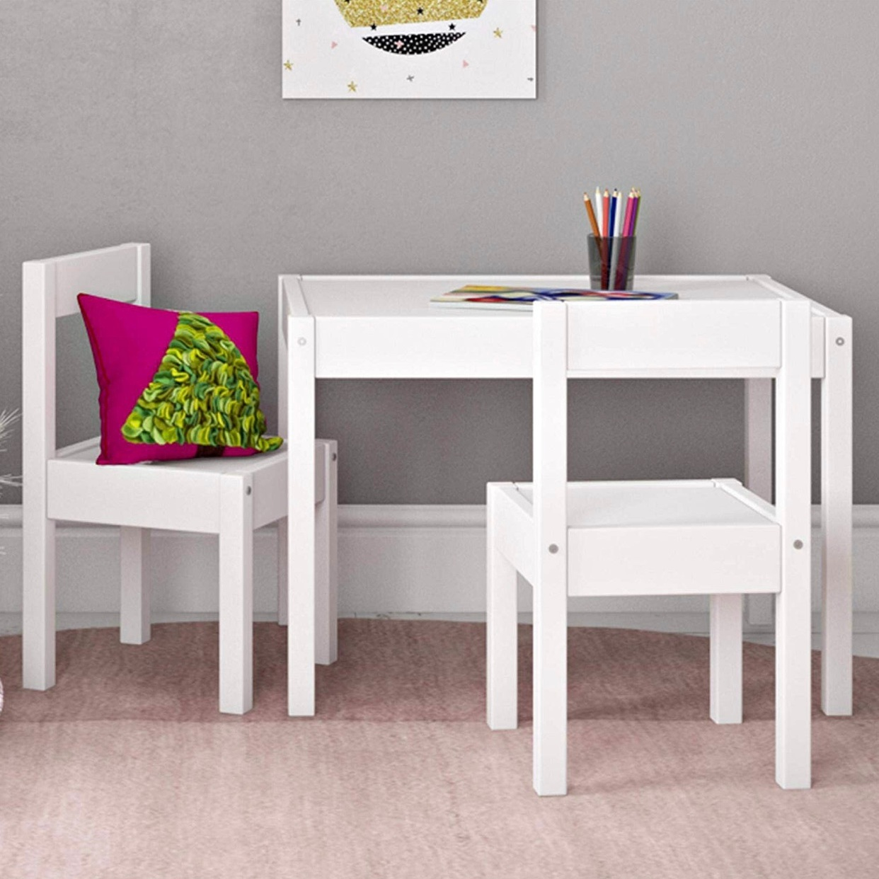 - Caroline and Caleb's new table and chairs for the playroom is perfect! Sturdy, just the right height for their ages, and a great price point!Find it here.