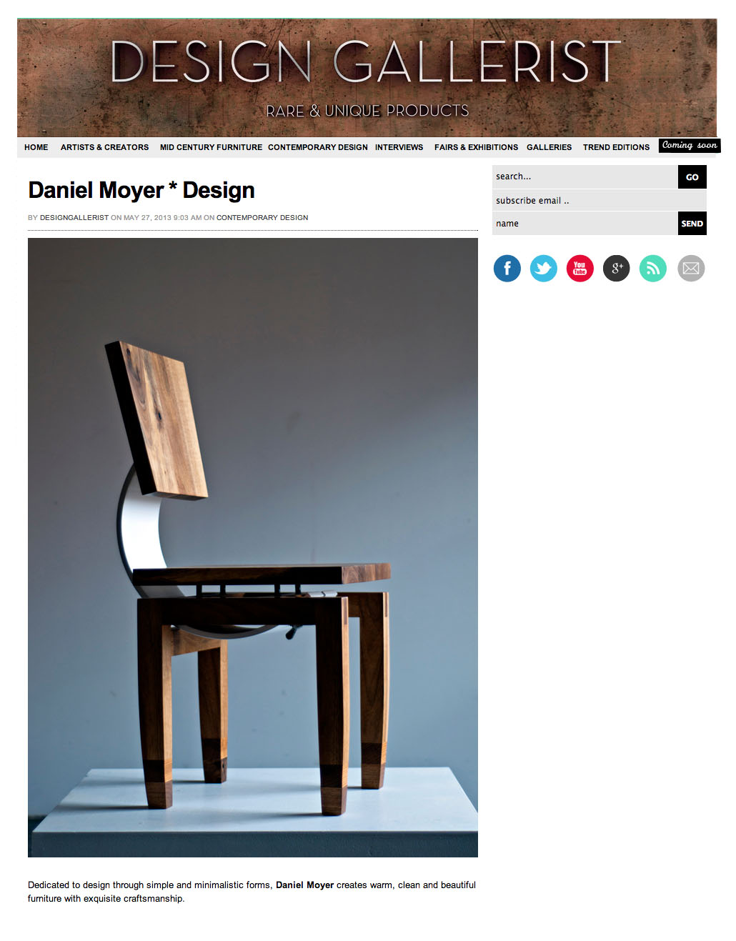 DESIGN GALLERIST  27 may 2013  [click to view the original post]