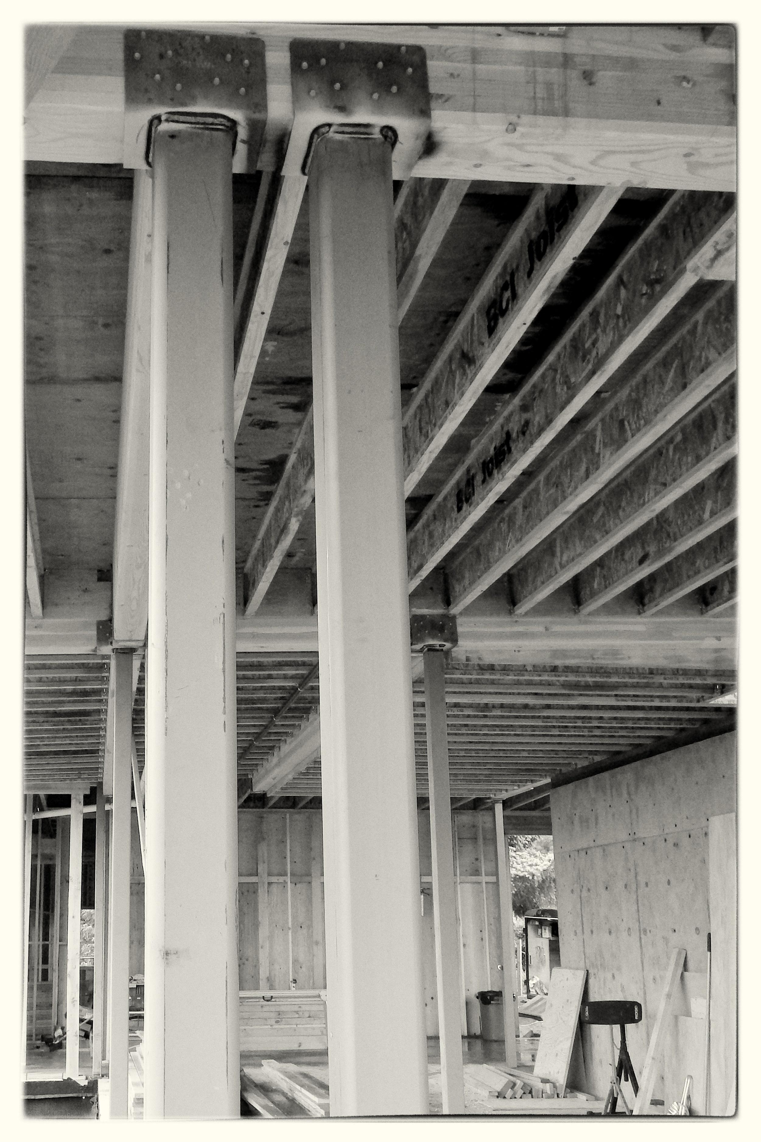 HSS Steel Posts Installed Inside Home - Portland