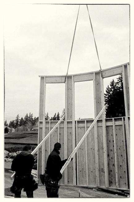 Setting Radius Wall with Crane - West Linn