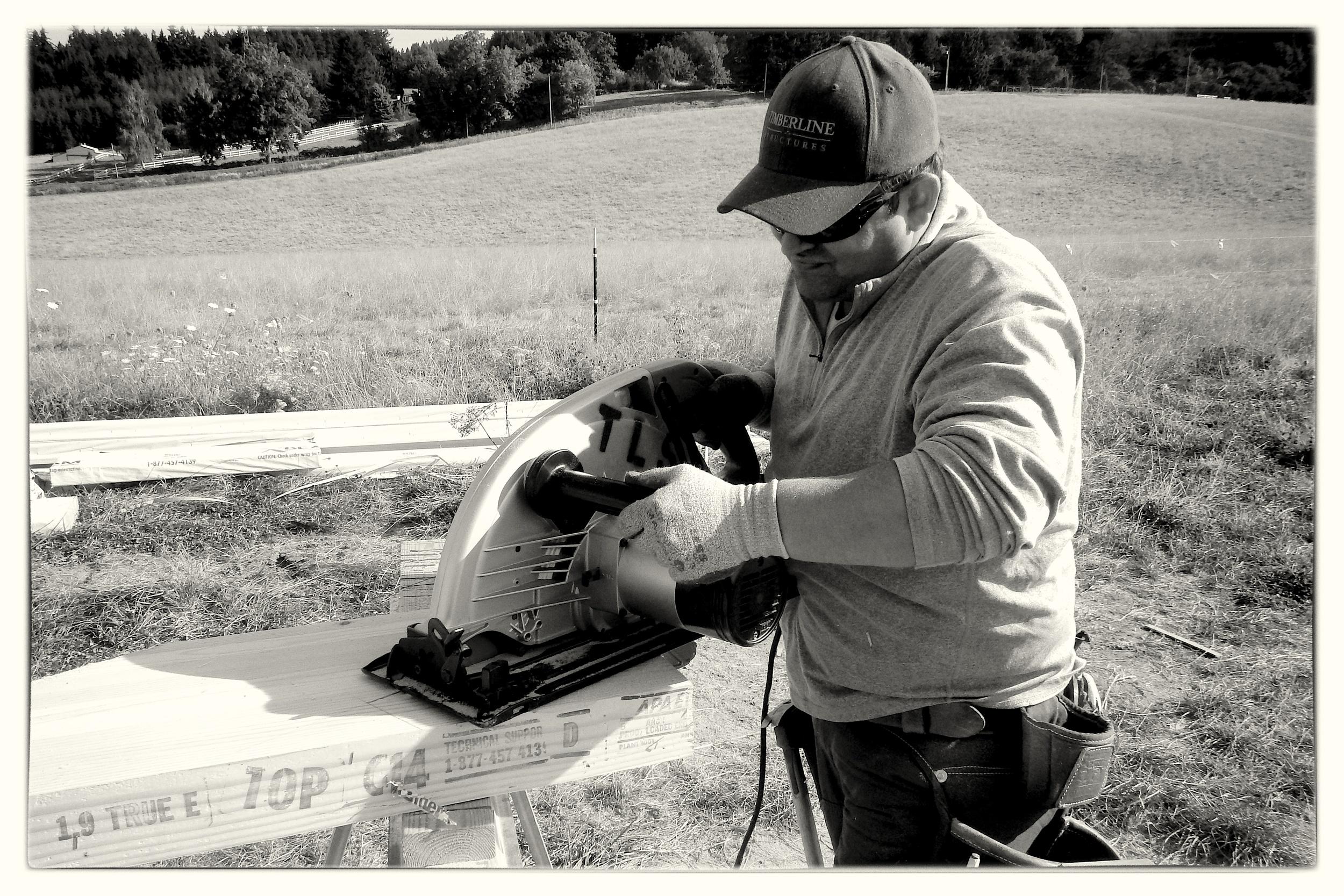 Cutting Glulmam Beams with 16 Inch Saw - West Linn