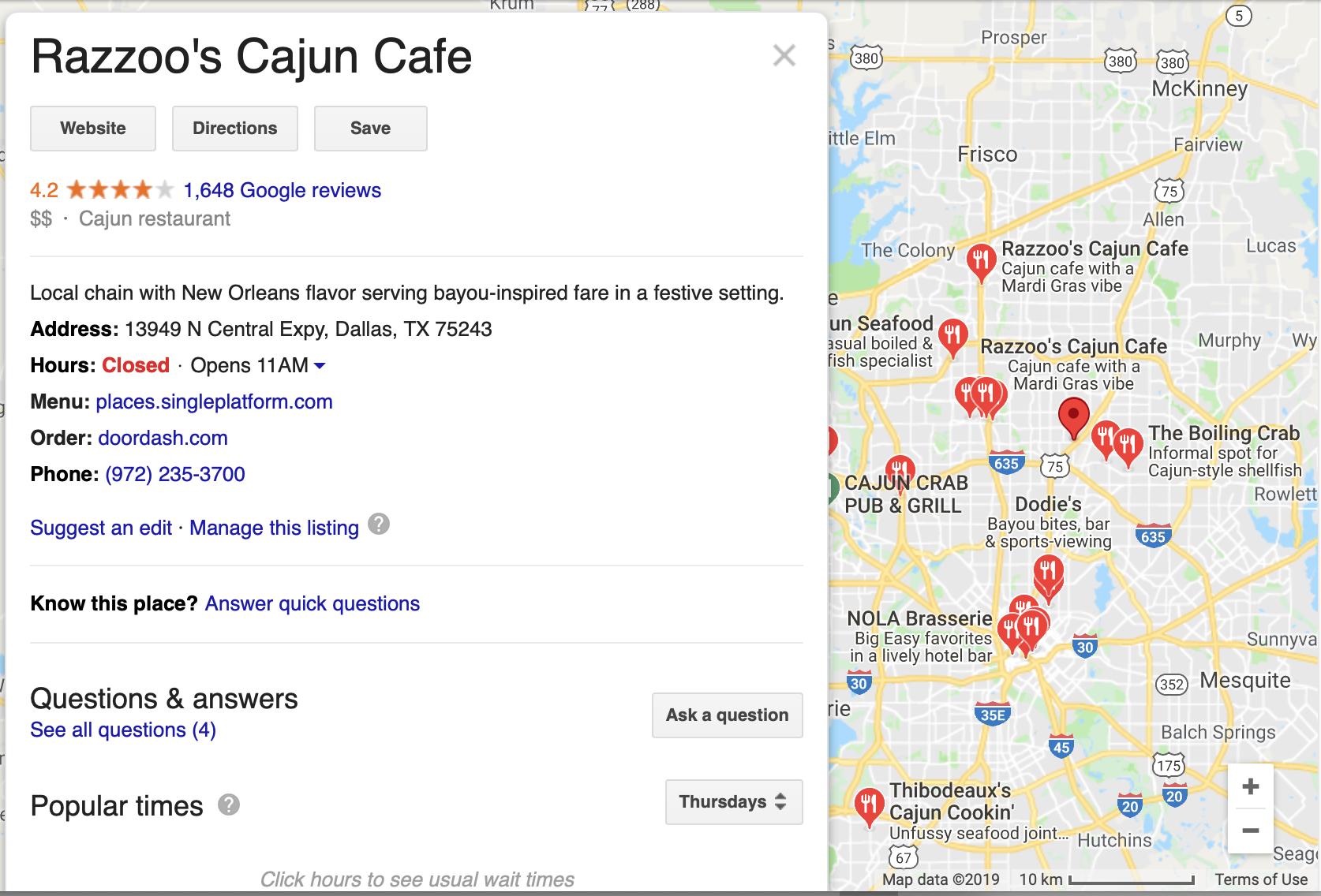 Razzoo's Cajun Cafe Google Map Pack best cajun restaurant