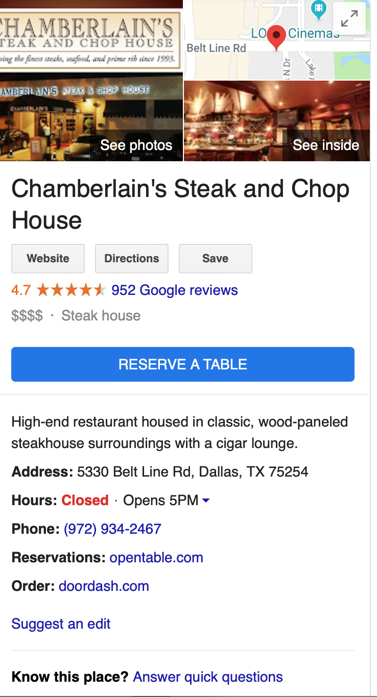 Chamberlains Steak and Chop House photos google map pack