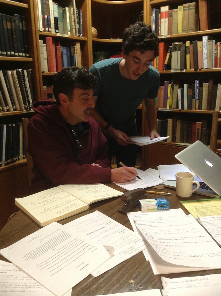 Artistic Director, Timothy X. Troy, reviews one of the student plays with one of our company members. Brian.