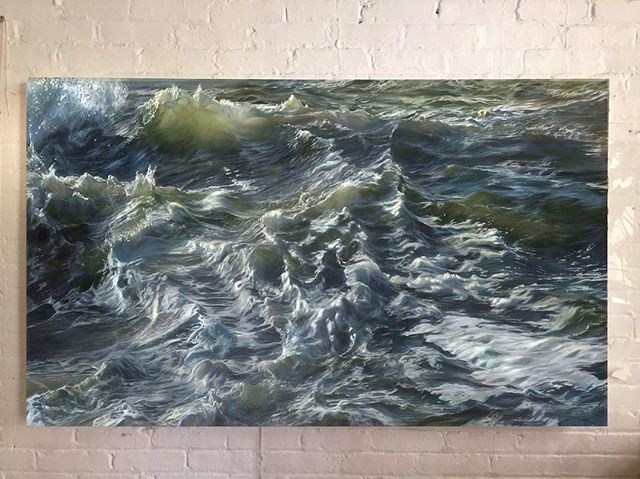 "Two years ago today I finished my *first* painting. It took me forever. But it led me to find what I wanted to do forever. I'M HAVING SO MUCH FUN.  Maytag, 40x60"" . . . . #oilpainting #oceanpainting #oceanart #seascape #waveart #sea #ocean #instaart #painting #oiloncanvas #art #artofinstagram"