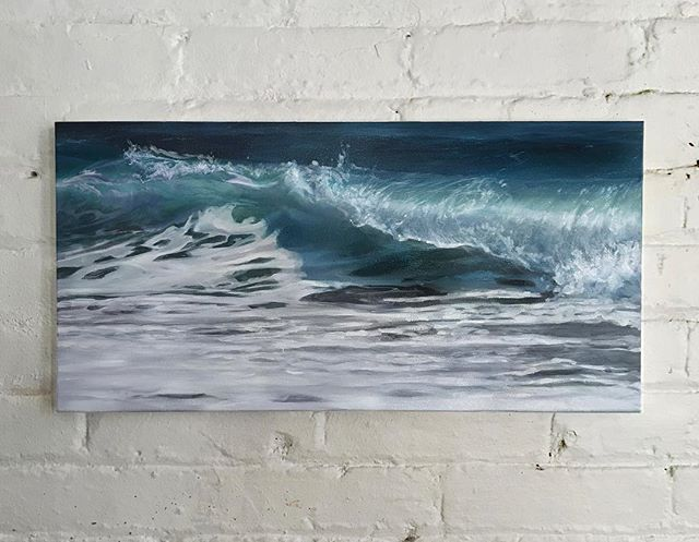 "Midterms, 2018. Oil on canvas, 10x20""  #bluewave High-five to all my fellow voters, keep up the fight🙌🏻🌊 . . . . . #oilpainting #oceanpainting #oceanart #seascape #waveart #sea #ocean #instaart #painting #oiloncanvas #art #mhoilpaints #bluewave #voteblue"