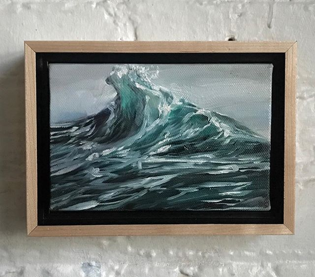 "Lil peak for someone special... 4x6"" oil on canvas. . . . . . #oilpainting #oceanpainting #oceanart #seascape #waveart #sea #ocean #instaart #painting #oiloncanvas #art #artforsale #waves #seascapes"