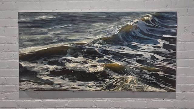 I made some more water!  She still needs a name, what do you think? Oil on canvas, 24x48 . . . . #oilpainting #oceanpainting #oceanart #seascape #waveart #sea #ocean #instaart #painting #realism #oiloncanvas #art #water #wave #painting #beach #newengland