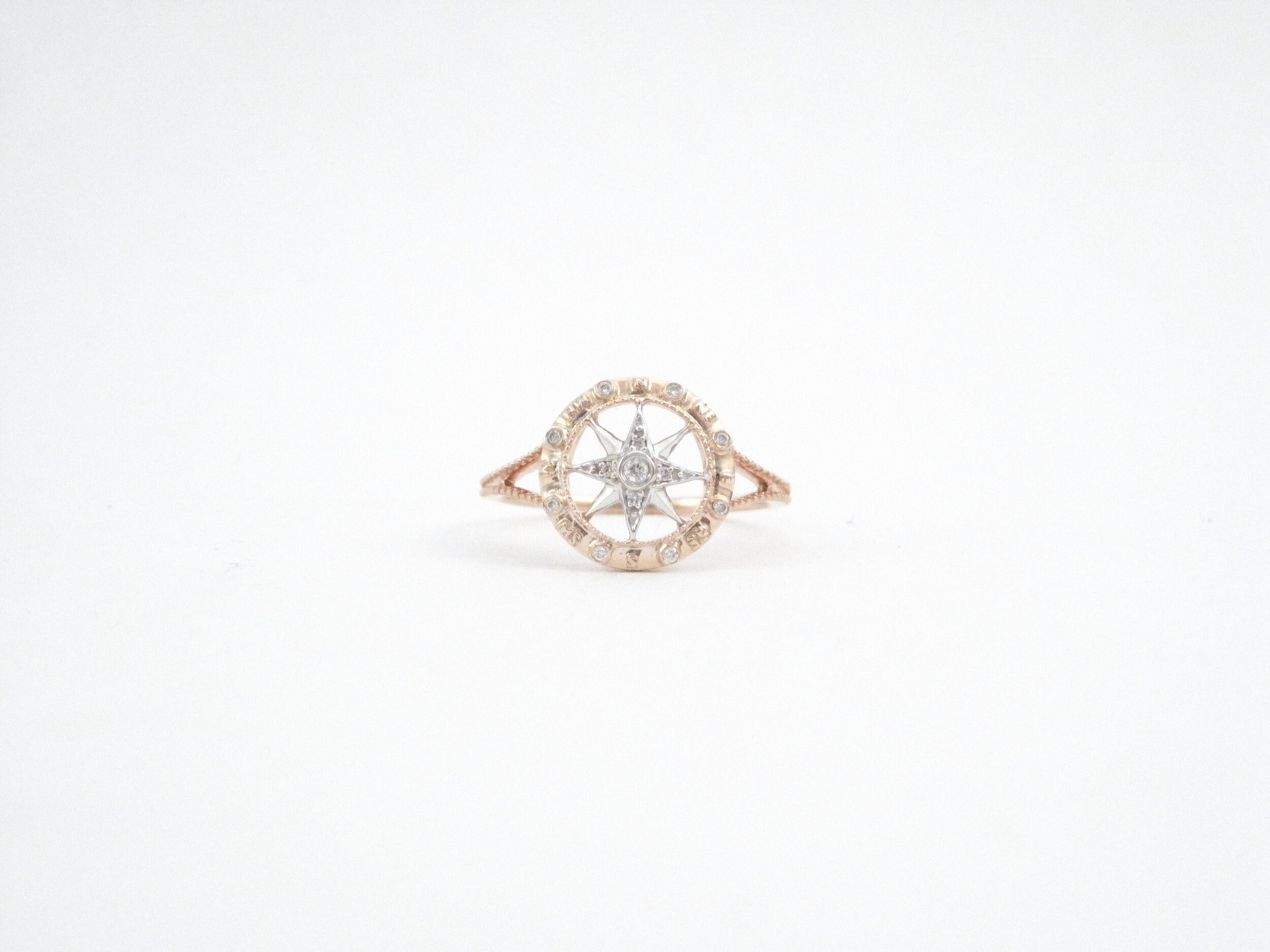 14kt Rose and White Gold Compass Ring with Diamonds