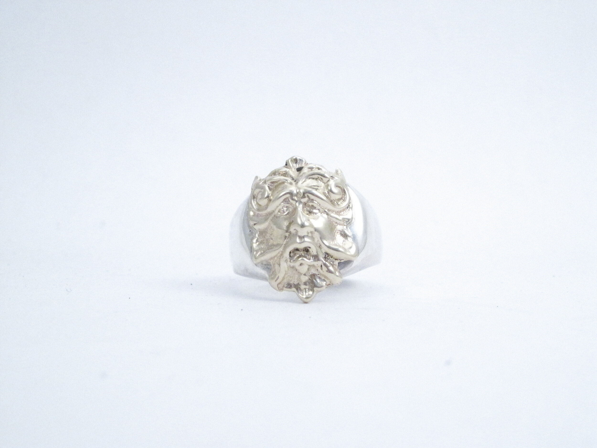 "Sterling Silver and 14kt Gold ""Green Man"" Gents Ring"
