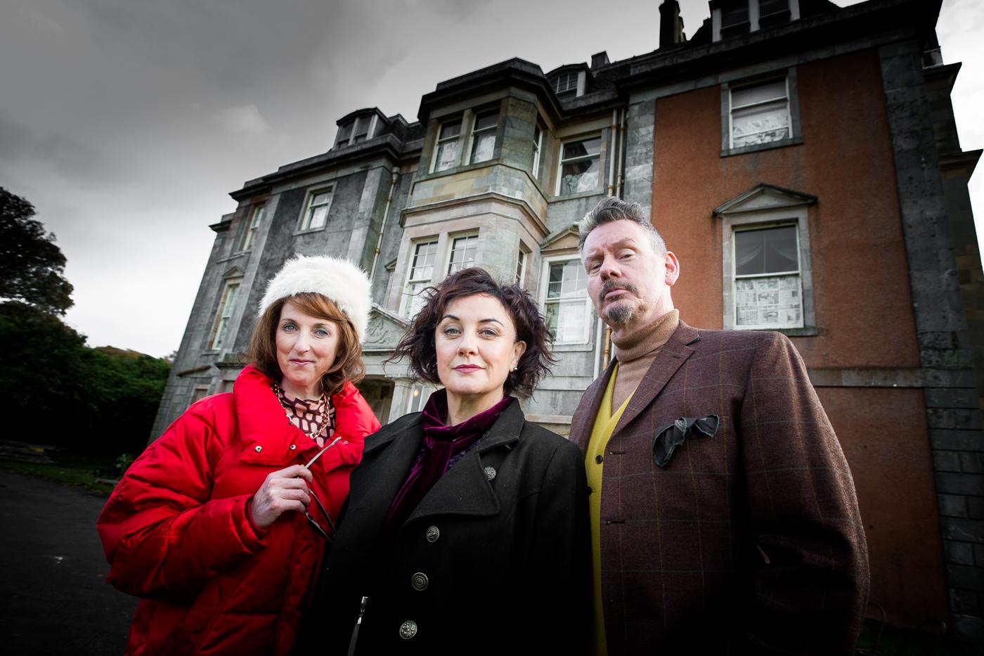 The Ghost Haunt team: Producer Dom (Wilson Nimmo) Faye Bowers (McIntosh) Pat Tomorrow (Gordon Sinclair)