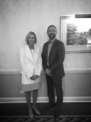 "Tiffany Adams, CELI President, and Leigh Fox, President & CEO of Cincinnati Bell. CELI presents ""Leadership at Its Finest"" series to the Cincinnati Bell executive leadership team."