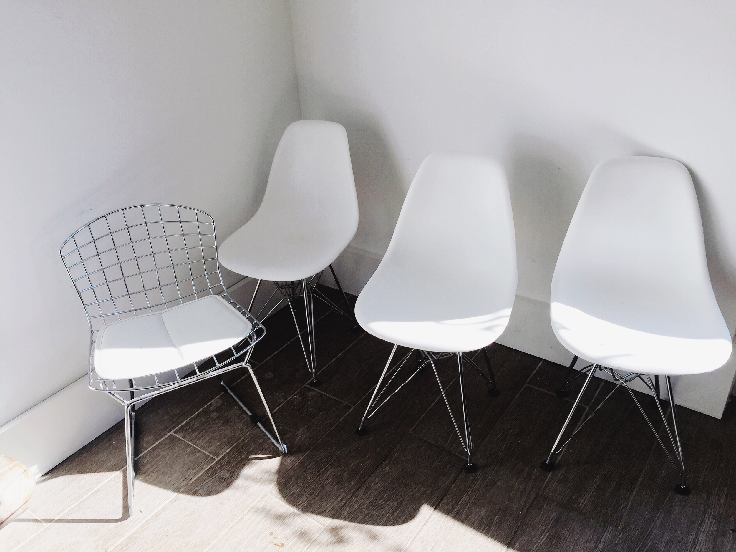Miniature designer chairs at  Dark Horse Espresso Bar .