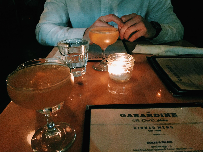 Drinks at the Gabardine.