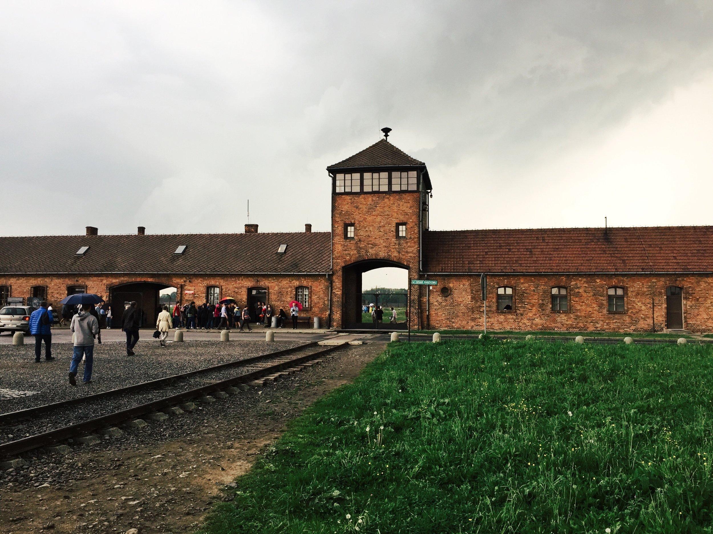 The entrance to Auschwitz II - Birkenau.