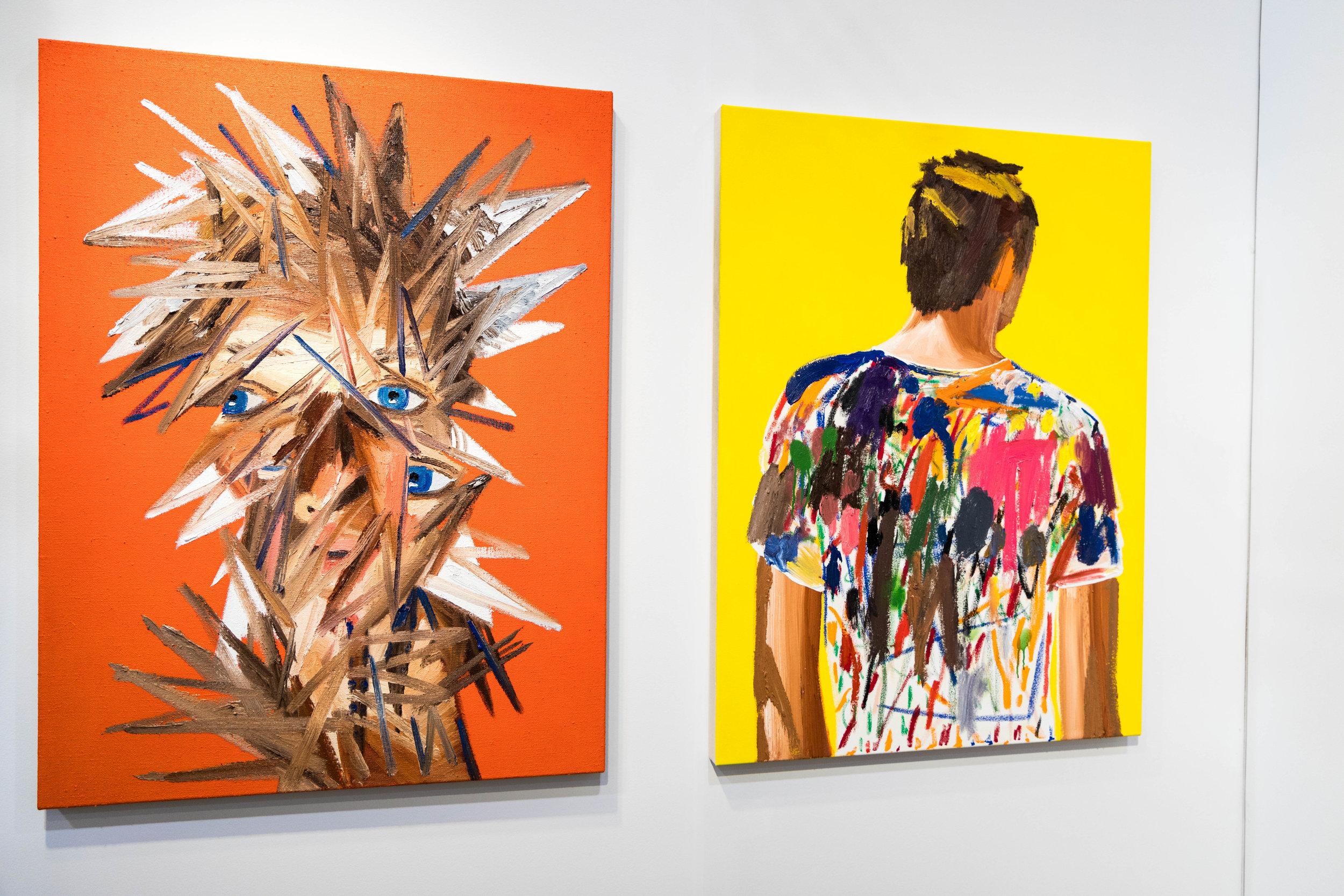(L)  Self-Portrait (Malaga), 2017 and (R) Man in California , 2017  Erik Olson