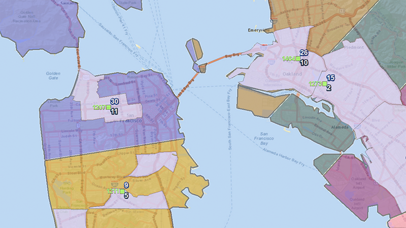 The same territories, but now overlaying the Customer Response Zones.