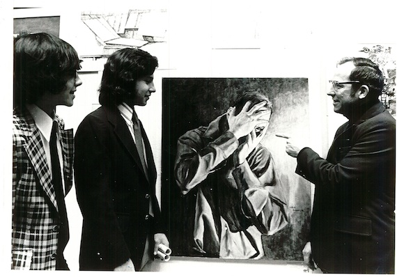Mr. Benedict with his father, former J-DHS art teacher George Benedict, at the Scholastic Art Awards in 1976, viewing Mr. Benedict's portrait of his father.