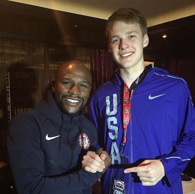 Jack Boeheim spotted legendary boxer Floyd Mayweather while in Rio. Mayweather did not compete at the games, but was there to watch.
