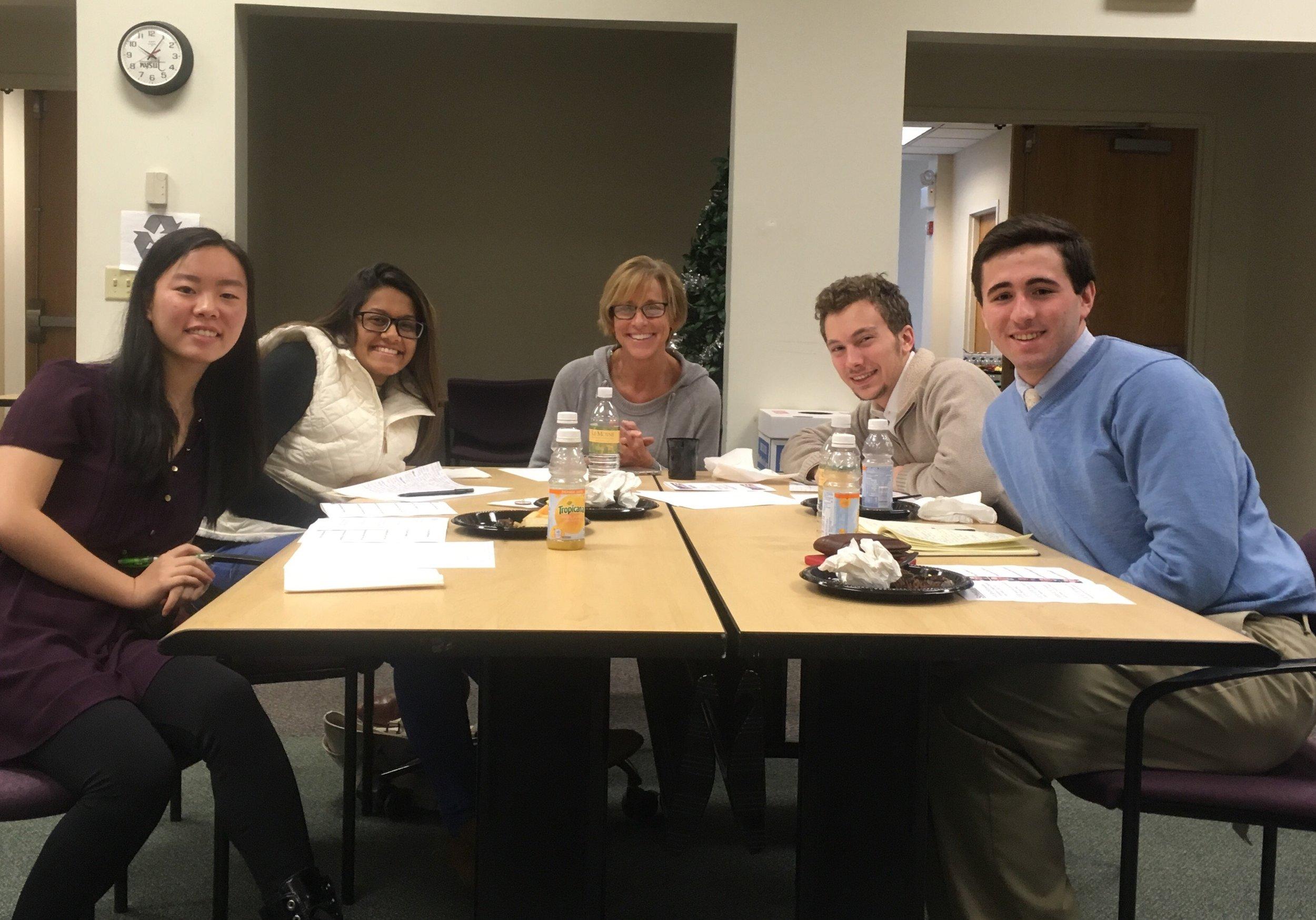 (From left to right) Michelle Pan (senior), Jenny Hossain (senior), Donna Oppedisano (teacher), Seth Blair (senior), Thomas Edson (senior) at the NYSUT Legislative Breakfast