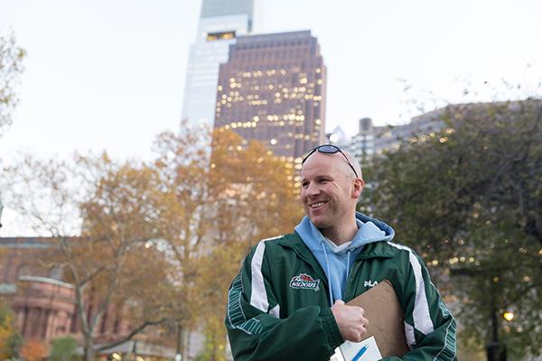 Adam Bruckner wears a green KitKat jacket. He wears it a lot.